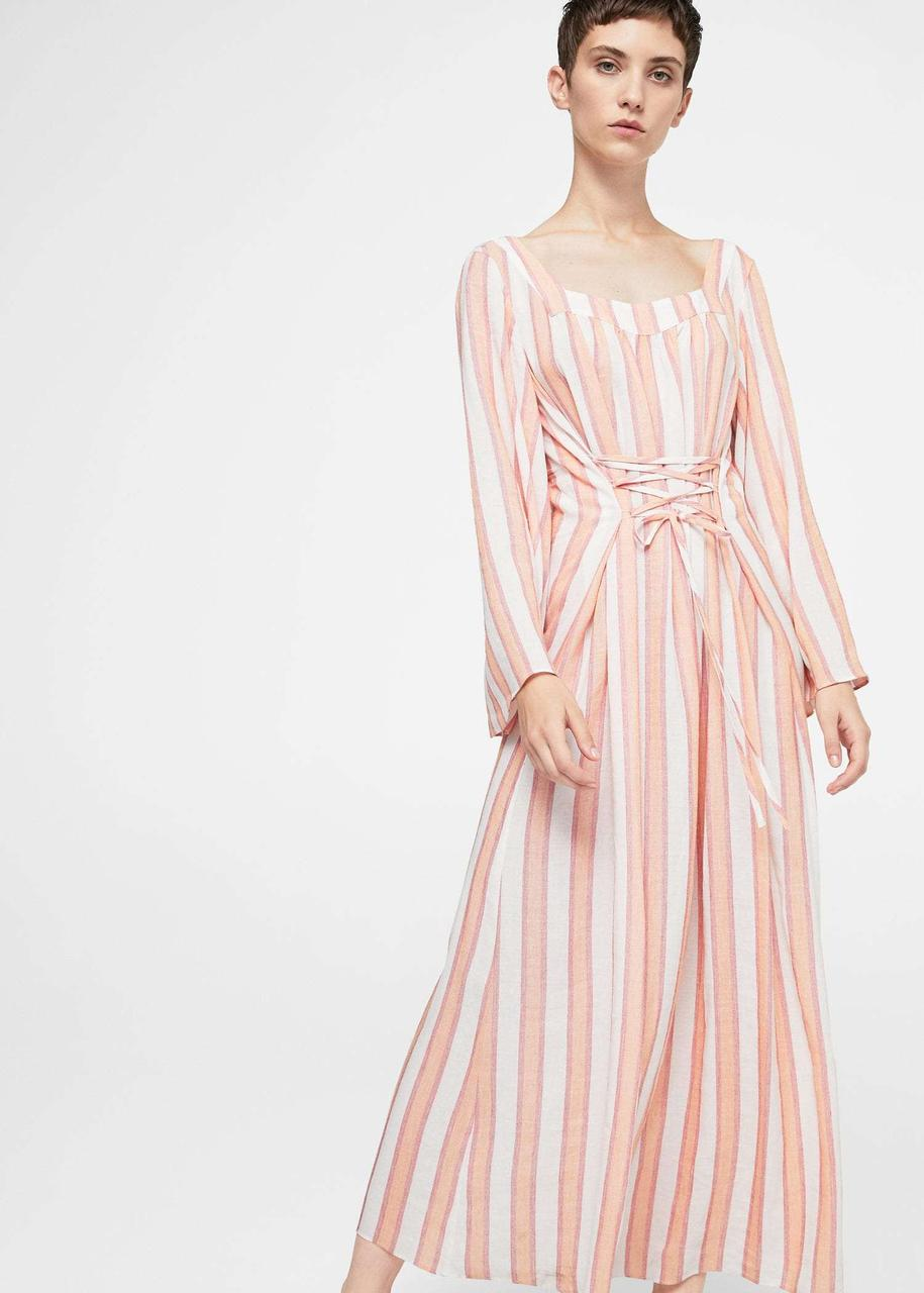 47bd02bf972 Тренд 2019. Платье макси со шнуровкой Mango. Оригинал