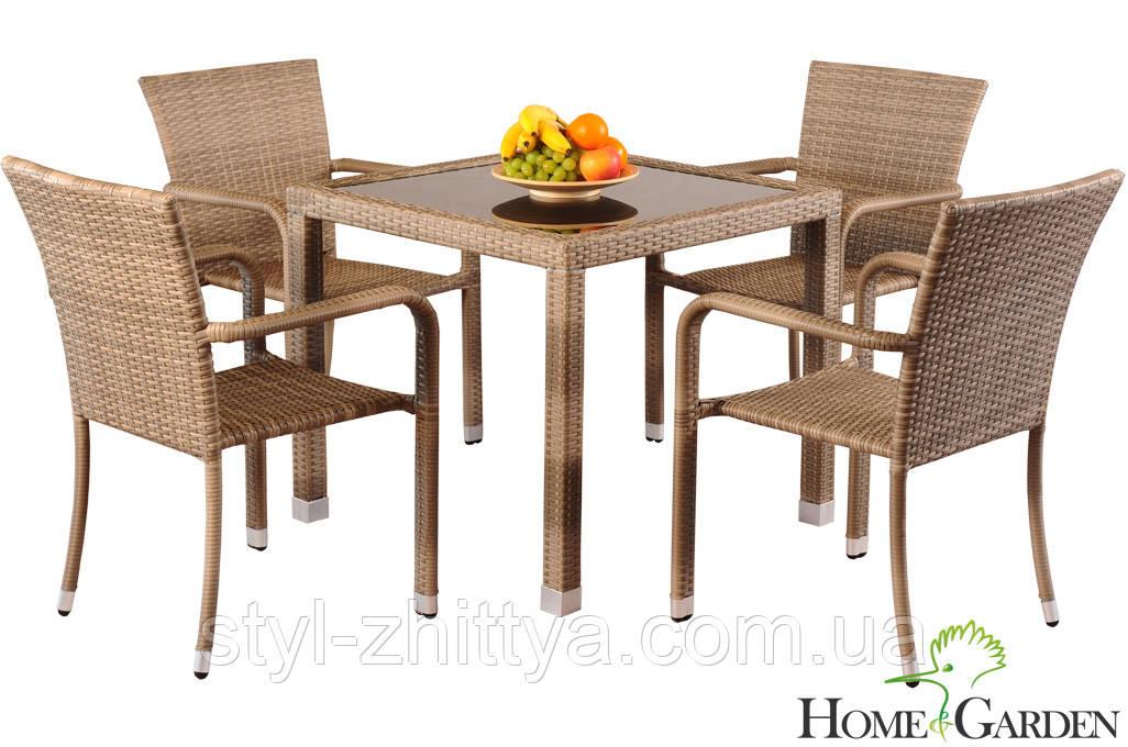 Сад.меблі з штучного ротангу. Стіл + 4 крісла