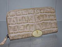 Итальянский кожаный кошелек CONTEMPO бежевый на молнии(змейке).