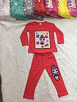 Костюм для девочки 1-5 лет батник + лосины красного, серого, зеленого,малинового цвета Лол оптом
