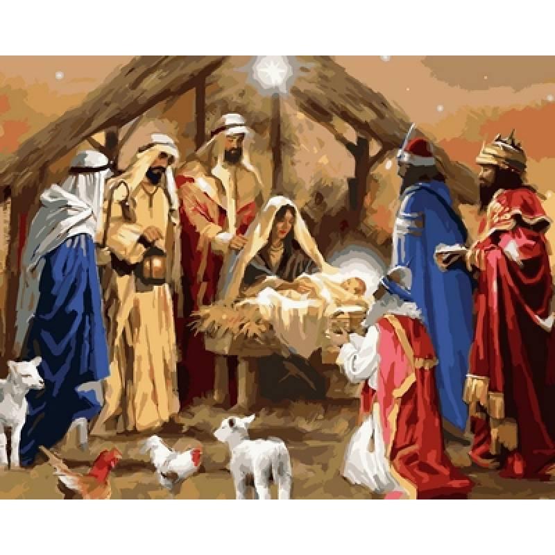 """Картина по номерам 50х40см Babylone Turbo """"Рождение Иисуса"""""""
