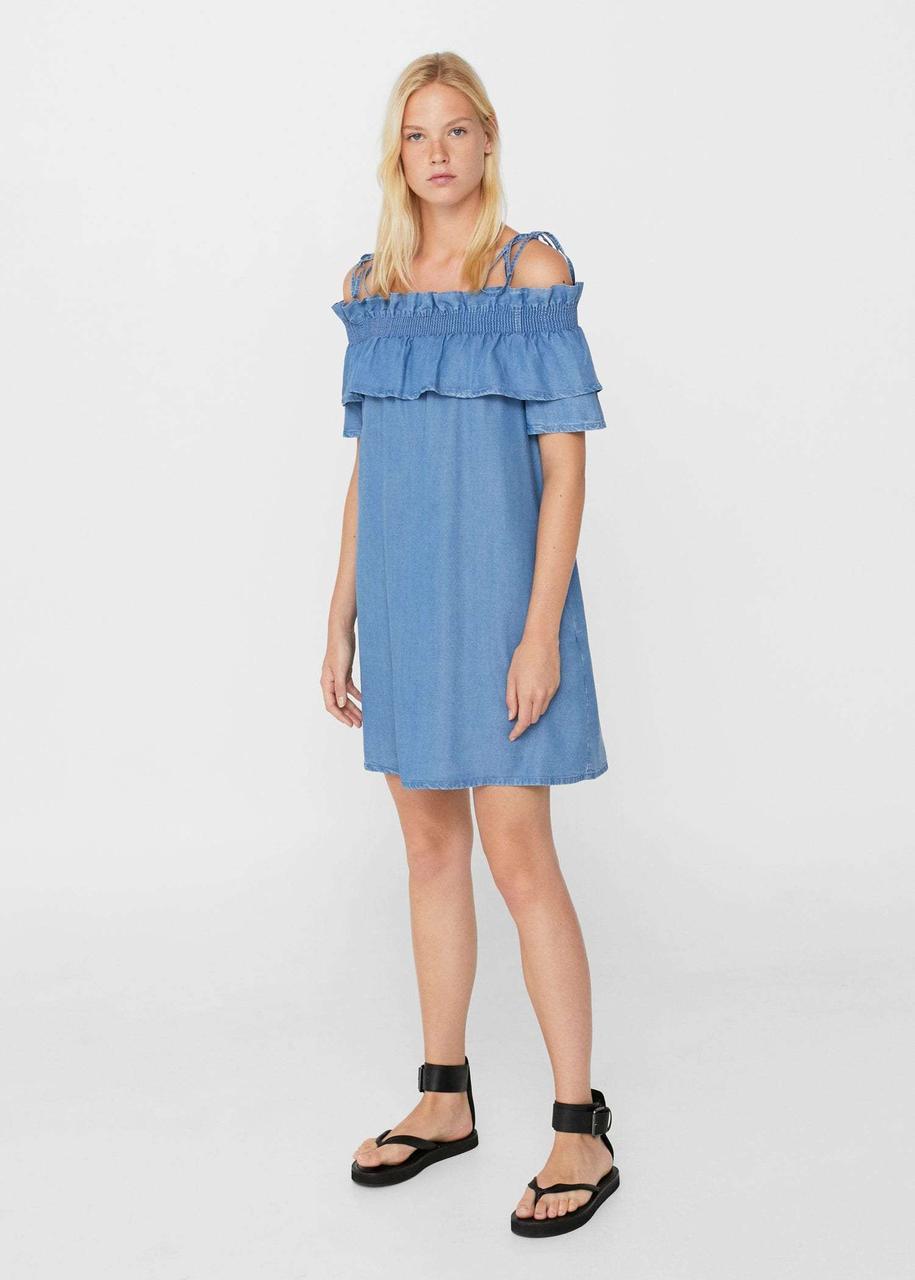 Джинсовое платье с воланами Mango. Оригинал, Испания. Размер S