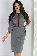 Строгое клетчатое платье батал, фото 1