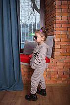 Спортивный костюм для девочки с пайетками бежевый, фото 3