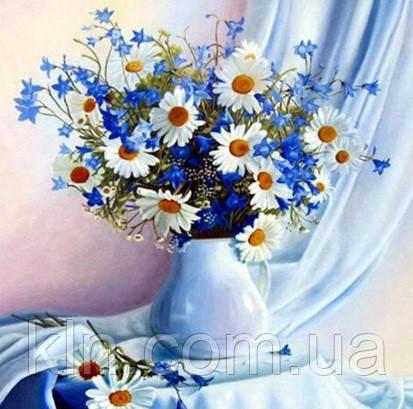 Алмазна вишивка на дерев'яному підрамнику Аромат польових квітів 30 х 30 см (арт. TN005)