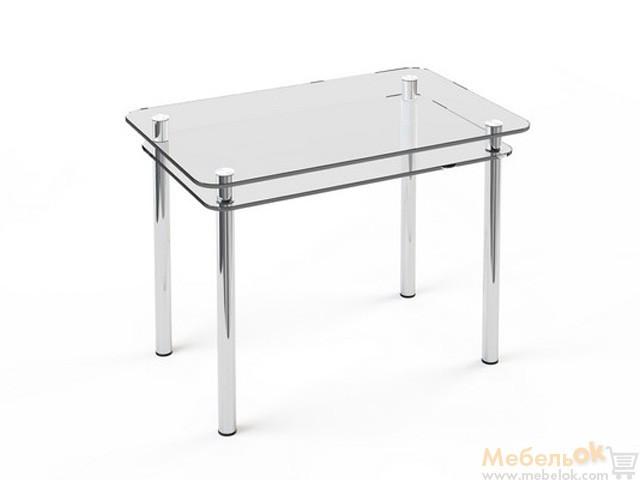 Стеклянный стол Кристалл с полкой