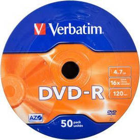Диски DVD-R VERBATIM 4,7 Gb 16 x Wrap 50 штук                         43788