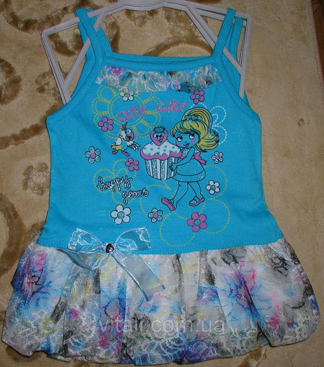 Туника платье гипюровая рюша голубая 1-2 года