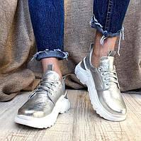 Кроссовки стильные женские AVK  кожа натуральная серебро 0104АВК