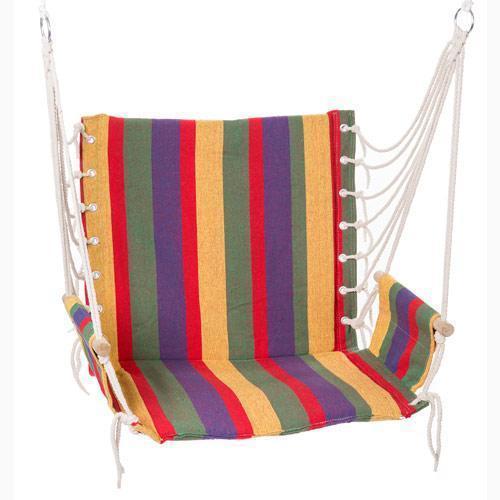 Гамак кресло сидячий качели на кольцах подвесной для сада  х/б ткань мексиканский в полоску HY-8211-1