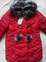Зимняя женская удлиненная куртка пальто Helena на силиконе с меховыми помпонами Размеры 42- 50 Новинка!