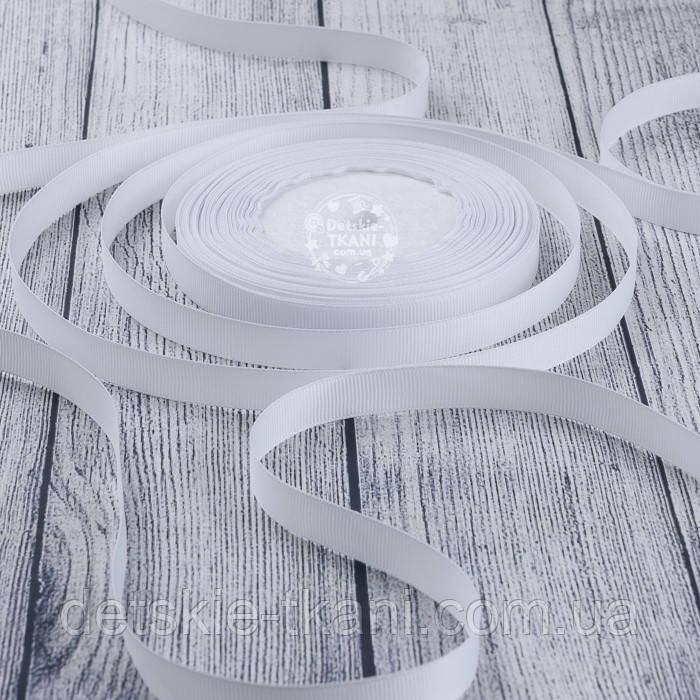 Лента репсовая шириной 12 мм белого цвета, бобина 23 м