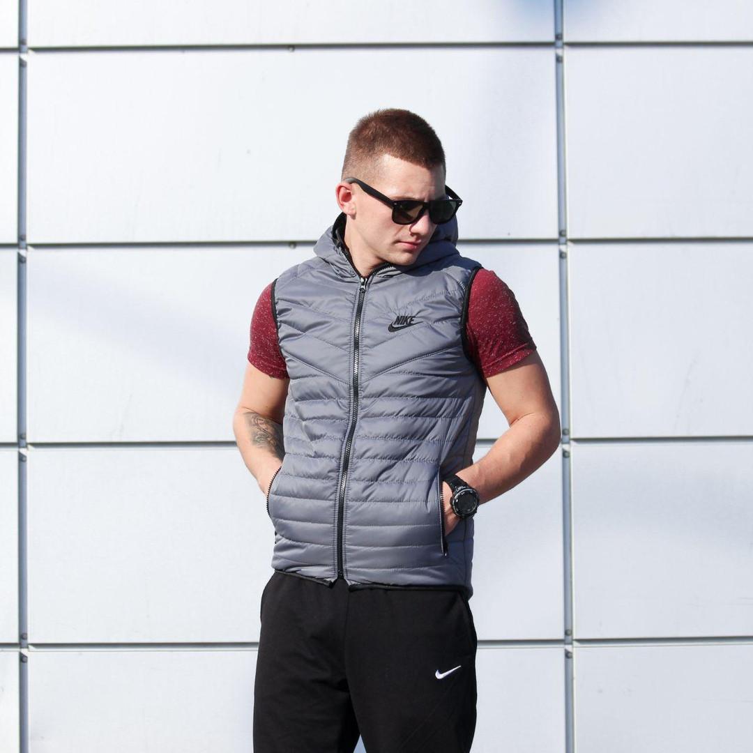 Жилетка мужская серая Nike |  безрукавка |  НАЙК