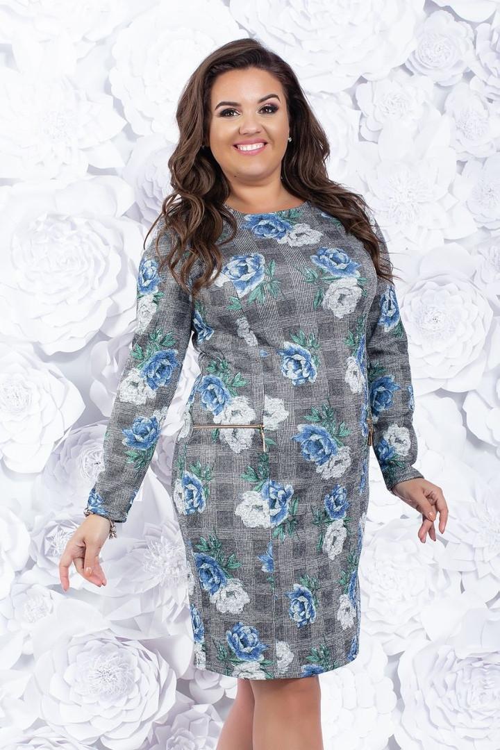 Женское ангоровое силуэтное платье50, 52, 54, 56, 58, 60