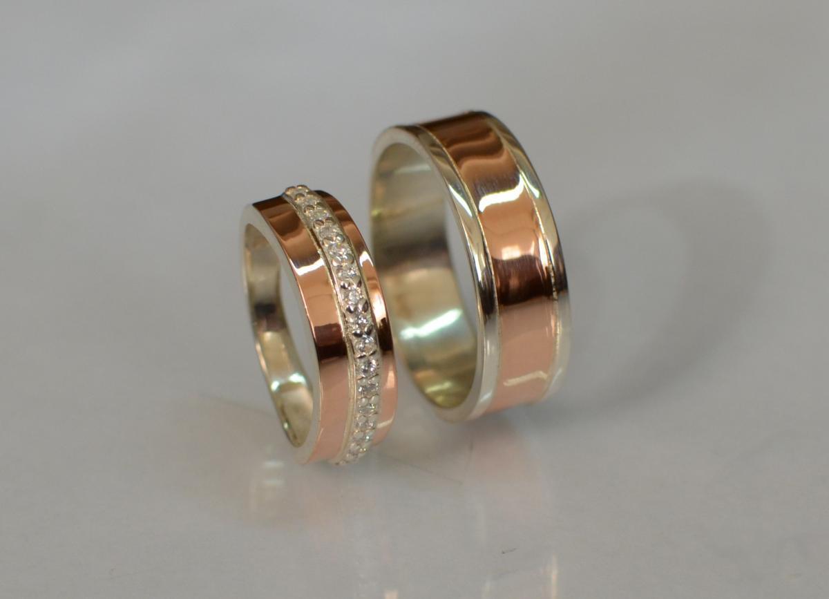 Пара серебряных обручальных колец с вставками из золота