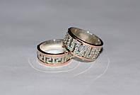 Пара серебряных обручальных колец с золотыми пластинами, фото 1