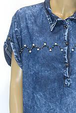 Джинсовое платье с коротким рукавом большого размера , фото 3
