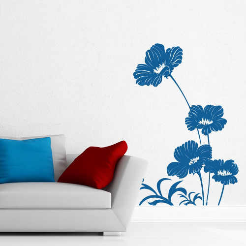 Интерьерная виниловая наклейка Васильки (наклейки цветы растения самоклеющаяся пленка оракал) матовая 721х1000 мм