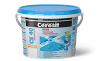 Эластичный водостойкий цветной шов Ceresit CE 40 aquastatic 5кг (ширина шва до 5 мм), цвет затирки - белый
