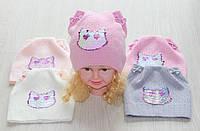 Вязаные весенние шапки для девочек кошачьи ушки
