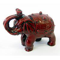 Слон с чашей каменная крошка коричневый (7х10х5 см) , Статуэтки и фигурки