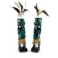 Папуасы пара резные дерево зеленые (20,5х4х4 см) , Статуэтки и фигурки