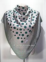 Кашемировый платок Горошек, капучино с зелёным