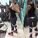 Спортивные женские лосины-леггинсы для фитнеса и спорта серо-розовые №25 М, фото 5