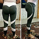 Лосины для фитнеса леггинсы для спорта серые розовые №25 — (S,M,L) спортивные, фото 8