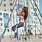 Спортивные женские лосины-леггинсы для фитнеса и спорта серо-розовые №25 М, фото 3