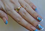 Серебряное обручальное кольцо с вставками из золота, фото 9