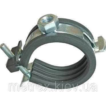 "FL-Хомут для труб 3/4"" (25-28мм) гайка М8/M10 с резиновой прокладкой гайкой и винтом"