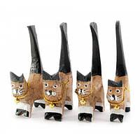 Кошки деревянные кольцедержатели (н-р 4 шт)(11х5х7,5 см)цена за наборD , Статуэтки и фигурки