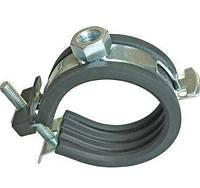 """Хомут с резиновой прокладкой для труб 1"""" (32-37 мм) с винтом и гайкой М8/M10, фото 1"""