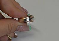 Серебряное обручальное кольцо со вставками из золота, фото 1