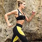 Лосины черно-желтые с сеткой для фитнеса №31 — леггинсы спортивные, узкие брюки для спорта, фото 2