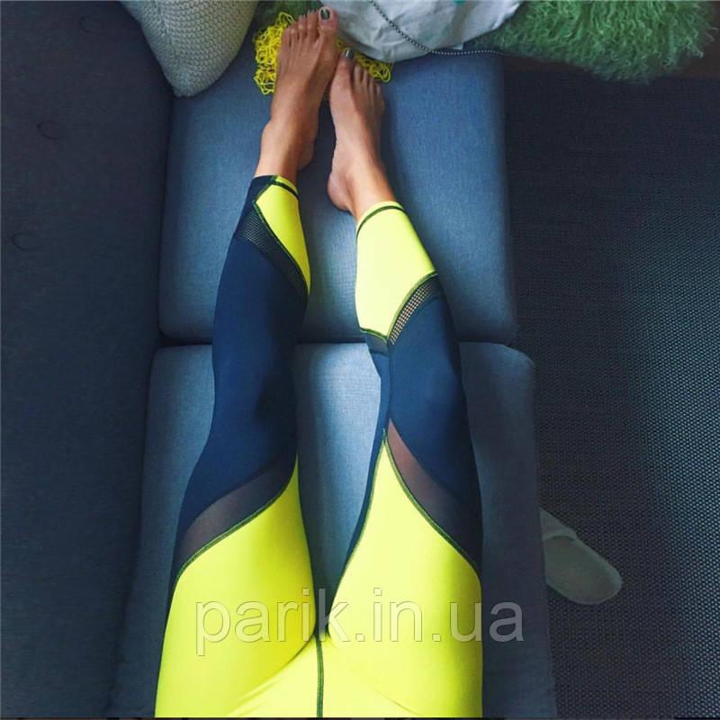 Лосины для фитнеса леггинсы для спорта с сеткой  черные желтые №31 — спортивные