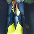 Лосины черно-желтые с сеткой для фитнеса №31 — леггинсы спортивные, узкие брюки для спорта, фото 3