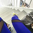Лосины для фитнеса леггинсы для спорта с сеткой черные синие №30 (S) — спортивные, фото 2