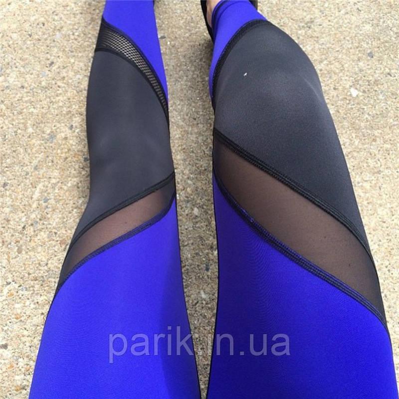 Лосины для фитнеса леггинсы для спорта с сеткой черные синие №30 (S,M) — спортивные