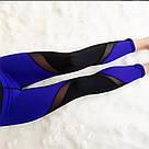 Лосины для фитнеса леггинсы для спорта с сеткой черные синие №30 (S) — спортивные, фото 3