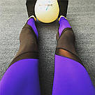 Лосины для фитнеса леггинсы для спорта с сеткой черные синие №30 (S) — спортивные, фото 4