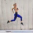 Лосины для фитнеса леггинсы для спорта с сеткой черные синие №30 (S,M) — спортивные, фото 5