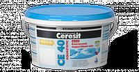 Эластичный водостойкий цветной шов Ceresit CE 40 aquastatic 2кг (ширина шва до 5мм), цвет затирки - белый
