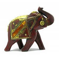 Слон деревянный винтажный с медными вставками (h-16 см) , Статуэтки и фигурки
