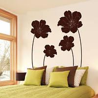Виниловая интерьерная наклейка Маковое поле (цветы, растения, маки) матовая