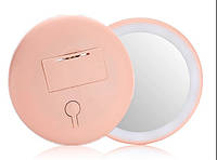 Карманное зеркало для макияжа с led подсветкой SUNROZ Pocket Mirror SUN7 Красное