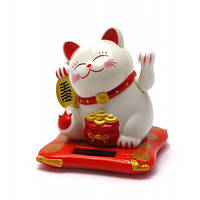 Кошка Манэки-нэко на солнечной батарее (7,5х7х6,5 см) , Статуэтки и фигурки