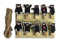 """Мини прищепки для декора """"Черные медвежата"""" 3.5 см  (10 штук)"""