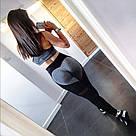 Лосины для фитнеса леггинсы для спорта с сеткой серые черные №37 XL — спортивные, фото 4